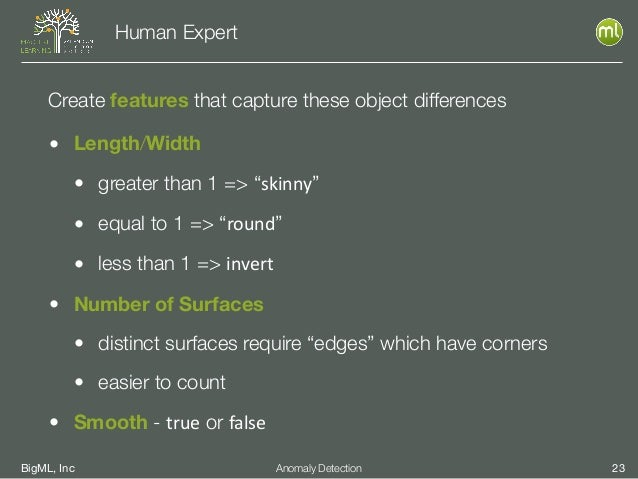 """BigML, Inc 23Anomaly Detection Human Expert • Length/Width • greater than 1 => """"skinny"""" • equal to 1 => """"round"""" • less tha..."""