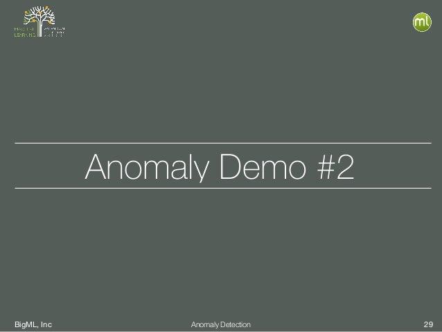 BigML, Inc 29Anomaly Detection Anomaly Demo #2