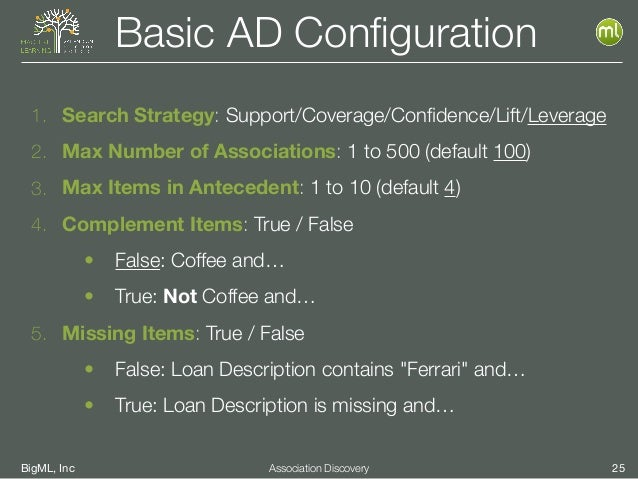 BigML, Inc 25Association Discovery Basic AD Configuration 1. Search Strategy: Support/Coverage/Confidence/Lift/Leverage 2. M...
