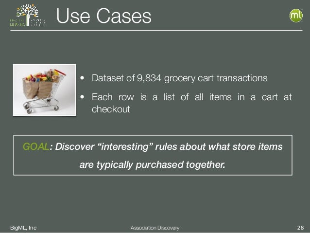 """BigML, Inc 28Association Discovery Use Cases GOAL: Discover """"interesting"""" rules about what store items are typically purch..."""