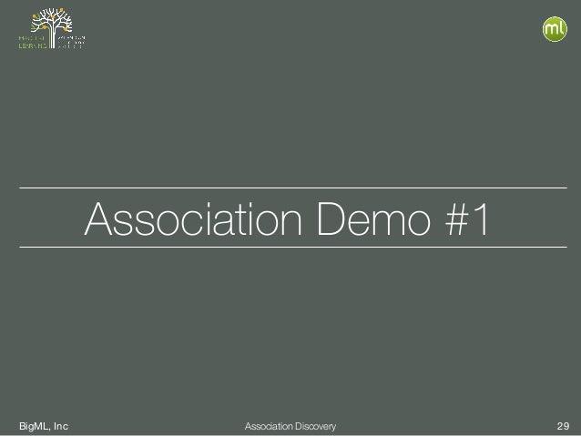 BigML, Inc 29Association Discovery Association Demo #1