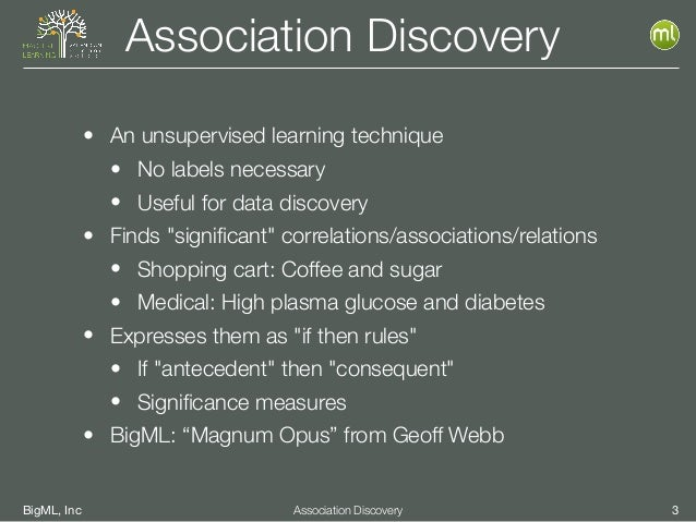 BigML, Inc 3Association Discovery Association Discovery • An unsupervised learning technique • No labels necessary • Usefu...
