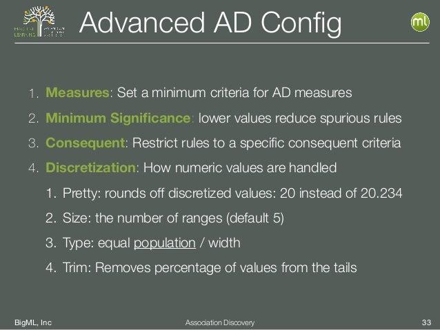 BigML, Inc 33Association Discovery Advanced AD Config 1. Measures: Set a minimum criteria for AD measures 2. Minimum Signifi...