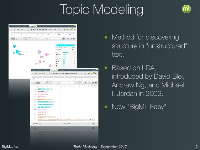 """BigML, Inc 2Topic Modeling - September 2017 Topic Modeling • Method for discovering structure in """"unstructured"""" text. • Ba..."""