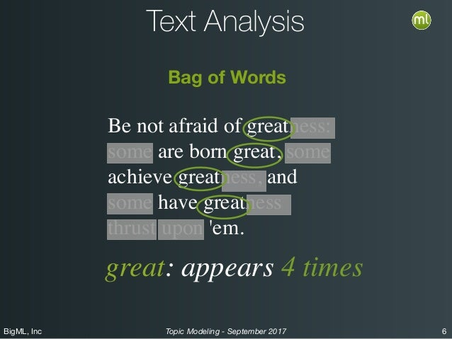 BigML, Inc 6Topic Modeling - September 2017 Text Analysis Be not afraid of greatness: some are born great, some achieve gr...