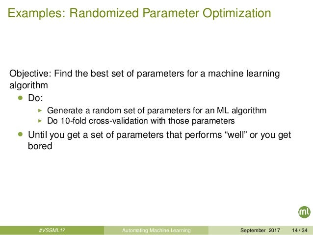 Examples: Randomized Parameter Optimization Objective: Find the best set of parameters for a machine learning algorithm • ...