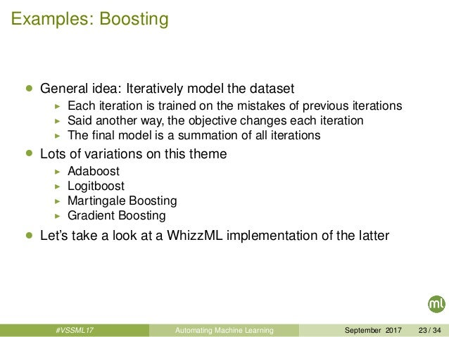 Examples: Boosting • General idea: Iteratively model the dataset Each iteration is trained on the mistakes of previous ite...