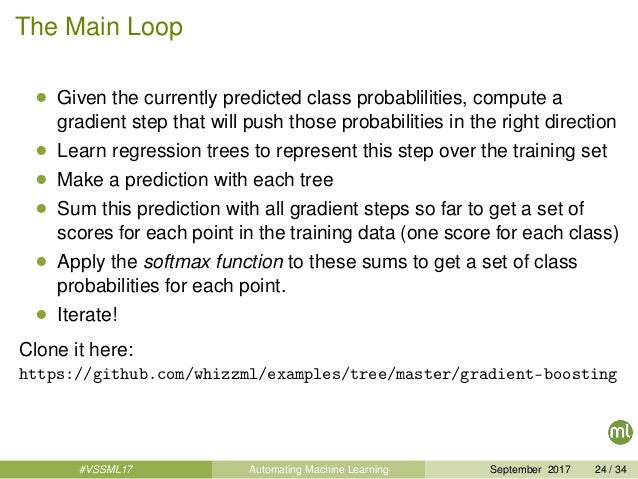 The Main Loop • Given the currently predicted class probablilities, compute a gradient step that will push those probabili...