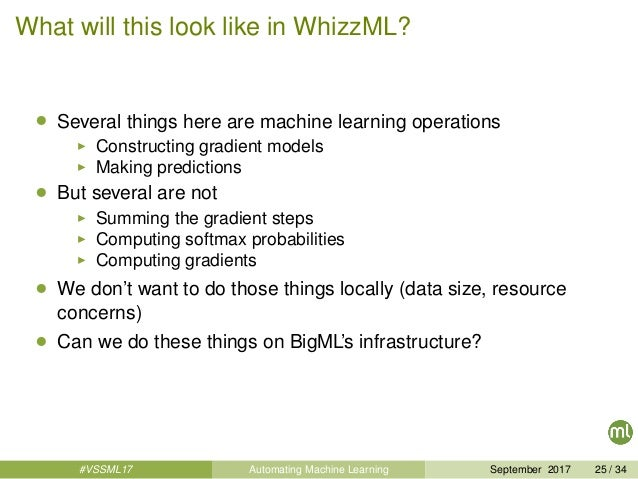 What will this look like in WhizzML? • Several things here are machine learning operations Constructing gradient models Ma...