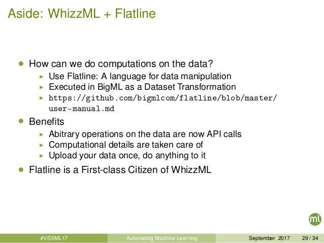Aside: WhizzML + Flatline • How can we do computations on the data? Use Flatline: A language for data manipulation Execute...