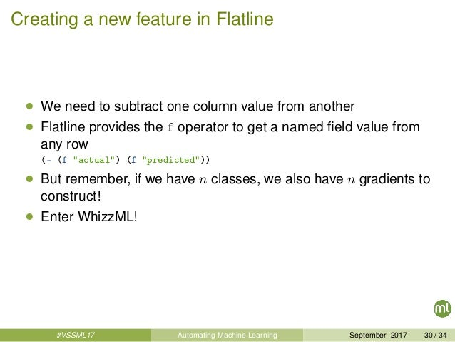 Creating a new feature in Flatline • We need to subtract one column value from another • Flatline provides the f operator ...
