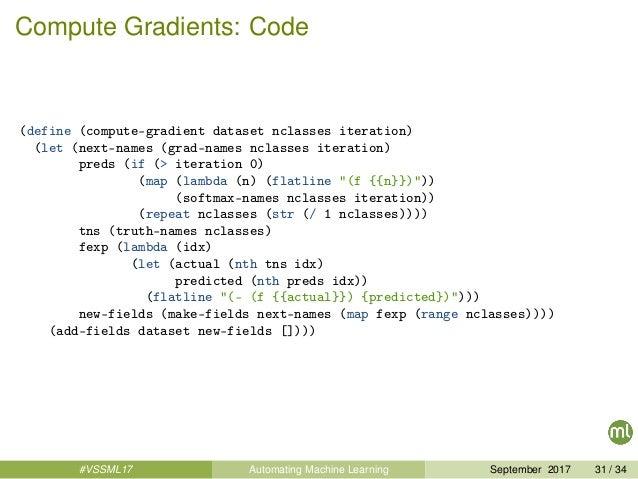 Compute Gradients: Code (define (compute-gradient dataset nclasses iteration) (let (next-names (grad-names nclasses iterat...