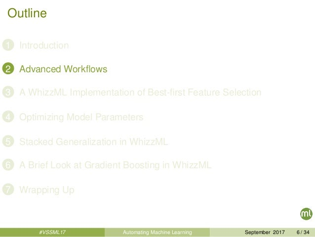 Outline 1 Introduction 2 Advanced Workflows 3 A WhizzML Implementation of Best-first Feature Selection 4 Optimizing Model Pa...
