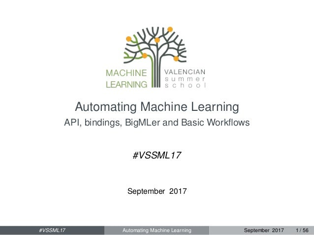 Automating Machine Learning API, bindings, BigMLer and Basic Workflows #VSSML17 September 2017 #VSSML17 Automating Machine ...
