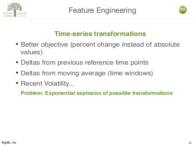 BigML, Inc 11 Feature Engineering Time-series transformations ● Better objective (percent change instead of absolute value...