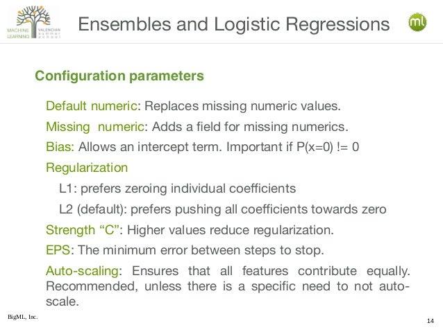 BigML, Inc. 14 Default numeric: Replaces missing numeric values. Missing numeric: Adds a field for missing numerics. Bias:...