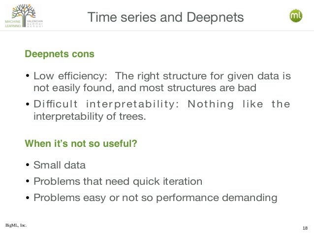 BigML, Inc. 18 ● Low efficiency: The right structure for given data is not easily found, and most structures are bad ● Dif...