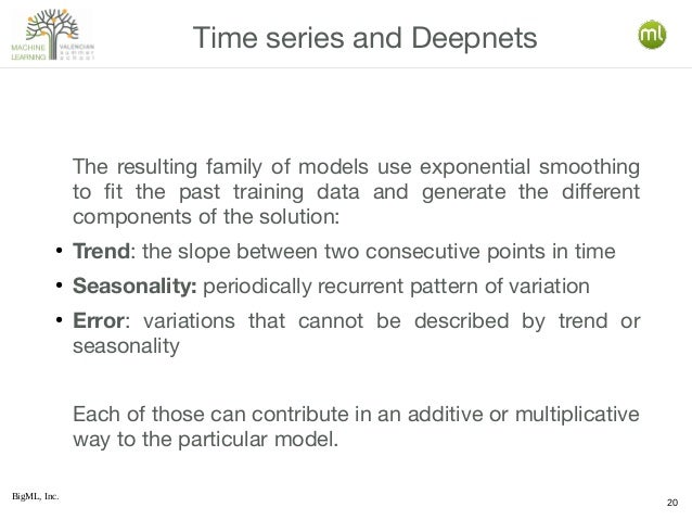 BigML, Inc. 20 The resulting family of models use exponential smoothing to fit the past training data and generate the dif...
