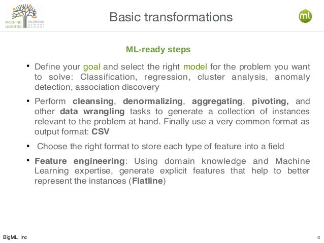 BigML, Inc 4 Basic transformations ● Define your goal and select the right model for the problem you want to solve: Classi...