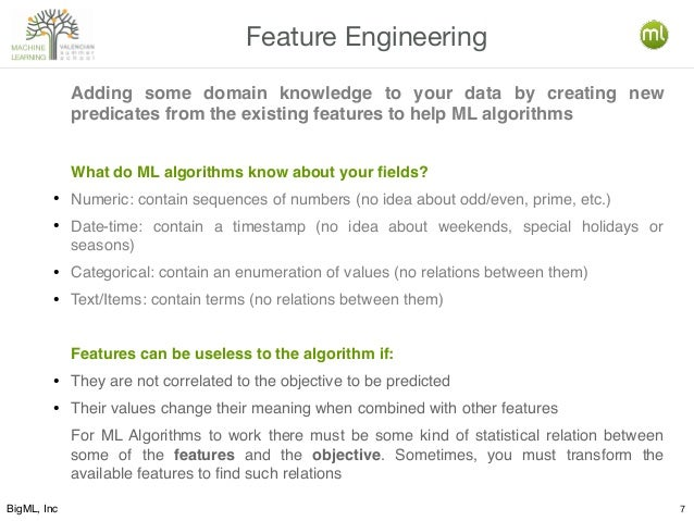 BigML, Inc 7 Feature Engineering Adding some domain knowledge to your data by creating new predicates from the existing fe...
