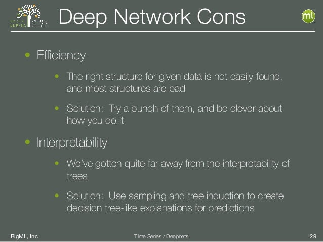 BigML, Inc 29Time Series / Deepnets Deep Network Cons • Efficiency • The right structure for given data is not easily found,...