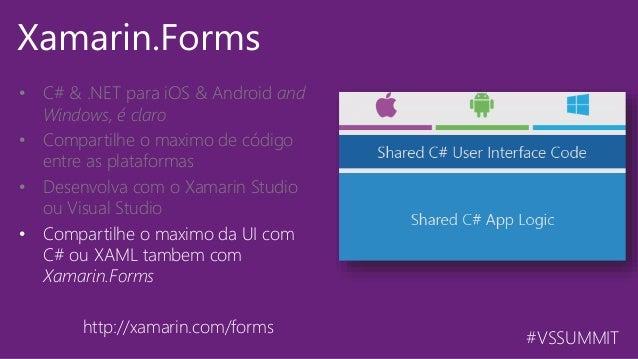 #VSSUMMIT Xamarin.Forms • C# & .NET para iOS & Android and Windows, é claro • Compartilhe o maximo de código entre as pla...