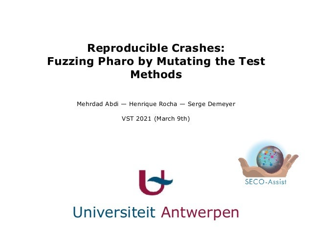 Reproducible Crashes: Fuzzing Pharo by Mutating the Test Methods