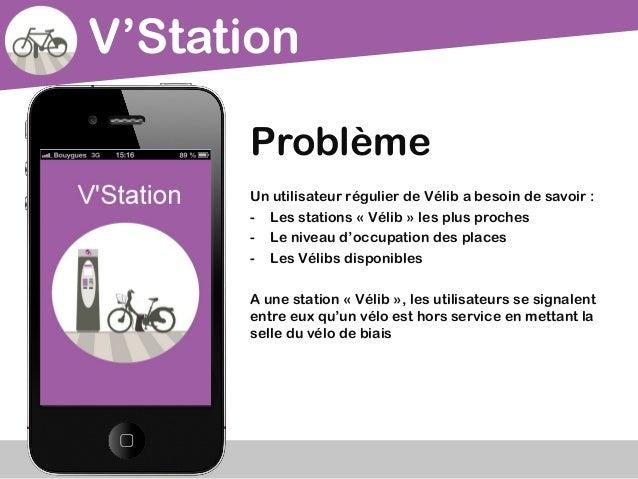 V'StationProblèmeUn utilisateur régulier de Vélib a besoin de savoir :- Les stations « Vélib » les plus proches- Le niveau...