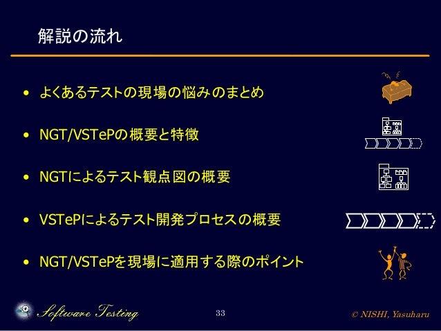 解説の流れ • よくあるテストの現場の悩みのまとめ • NGT/VSTePの概要と特徴 • NGTによるテスト観点図の概要 • VSTePによるテスト開発プロセスの概要 • NGT/VSTePを現場に適用する際のポイント 33  © NISHI...