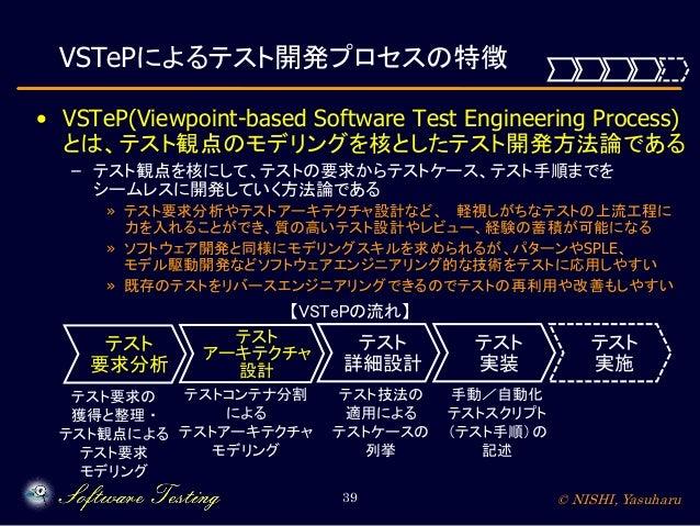 VSTePによるテスト開発プロセスの特徴 • VSTeP(Viewpoint-based Software Test Engineering Process) とは、テスト観点のモデリングを核としたテスト開発方法論である – テスト観点を核にし...