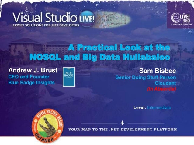 A Practical Look at the        NOSQL and Big Data HullabalooAndrew J. Brust                     Sam BisbeeCEO and Founder ...
