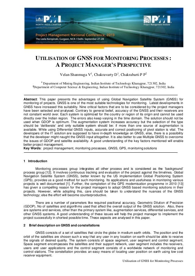 Utilisation of GNSS for Monitoring Processes UTILISATION OF GNSS FOR MONITORING PROCESSES : A PROJECT MANAGER'S PERSPECTIV...