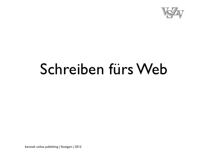Schreiben fürs Webbaranek online publishing | Stuttgart | 2012