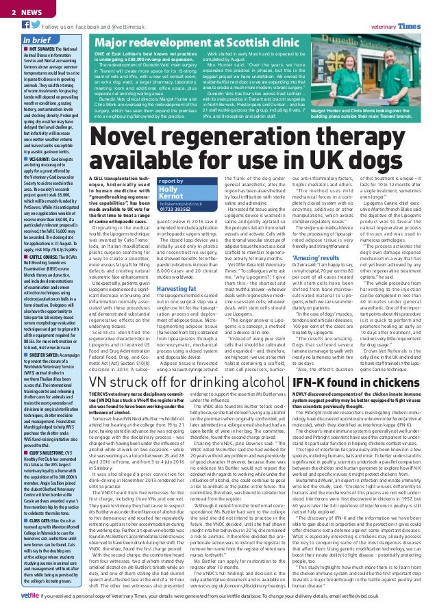 NEWS2	 veterinary TimesFollow us on Facebook and @vettimesuk If you received a personal copy of Veterinary Times, your det...