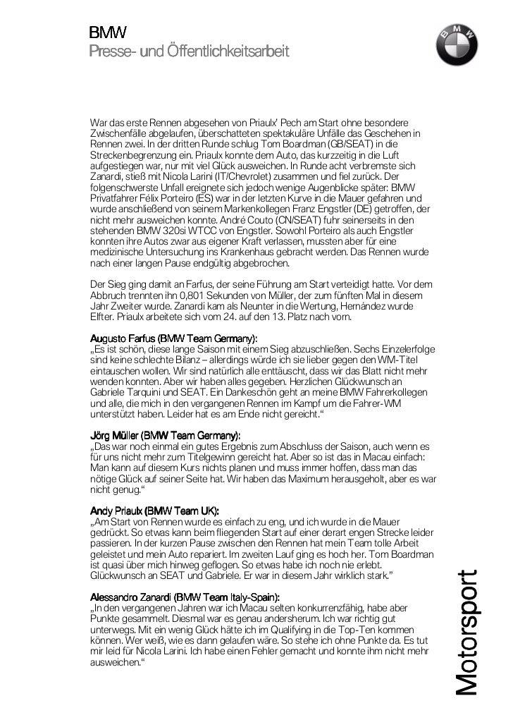 BMWPresse-Presse- und ÖffentlichkeitsarbeitWar das erste Rennen abgesehen von Priaulx' Pech am Start ohne besondereZwische...