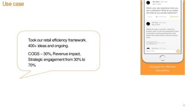 Use case 4 Took our retail efficiency framework. 400+ ideas and ongoing. COGS – 30%, Revenue impact, Strategic engagement ...