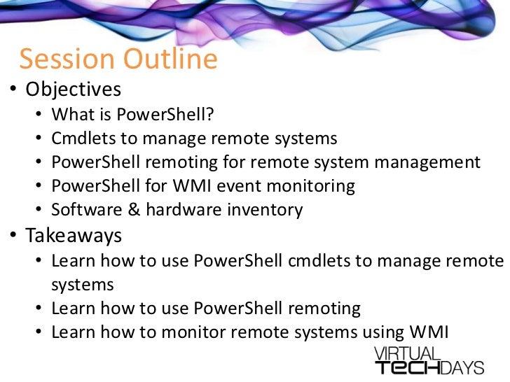 PowerShell for monitoring and managing Windows 7 desktops remotely Slide 3