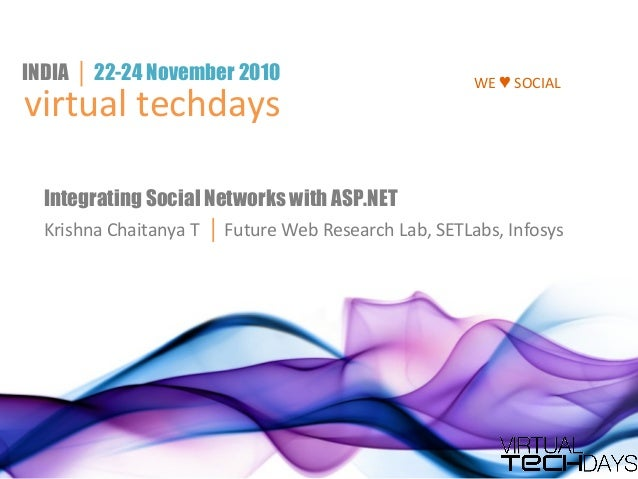 virtual techdays INDIA │ 22-24 November 2010 Integrating Social Networks with ASP.NET Krishna Chaitanya T │ Future Web Res...