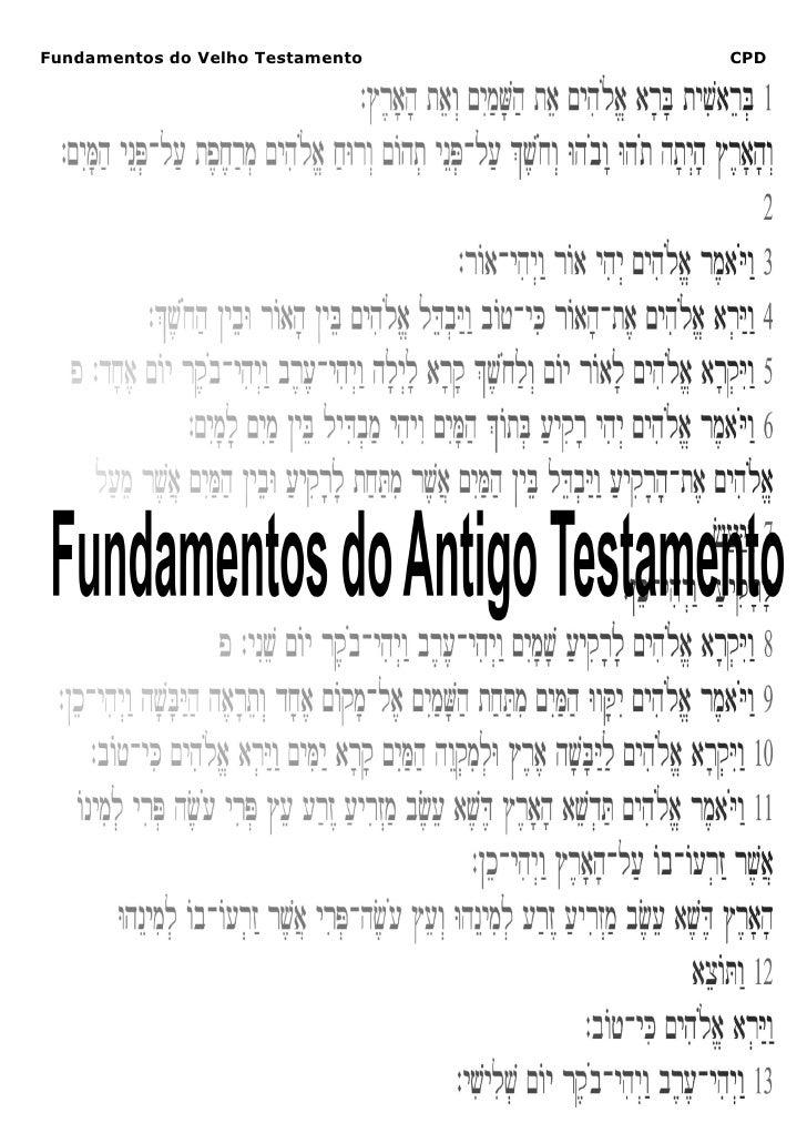Fundamentos do Velho Testamento                                                  CPD             Só a Escritura, Só Cristo...