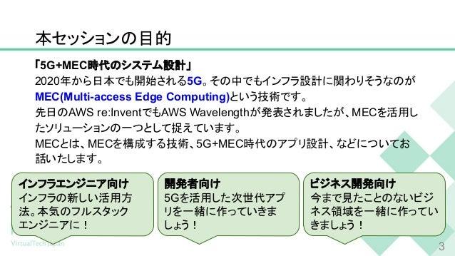 本セッションの目的 「5G+MEC時代のシステム設計」 2020年から日本でも開始される5G。その中でもインフラ設計に関わりそうなのが MEC(Multi-access Edge Computing)という技術です。 先日のAWS re:Inv...