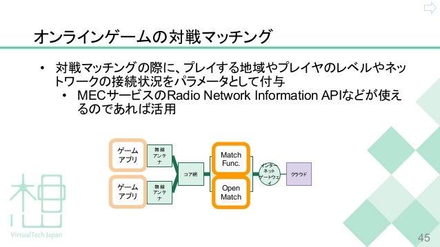 オンラインゲームの対戦マッチング • 対戦マッチングの際に、プレイする地域やプレイヤのレベルやネッ トワークの接続状況をパラメータとして付与 • MECサービスのRadio Network Information APIなどが使え るのであれば...