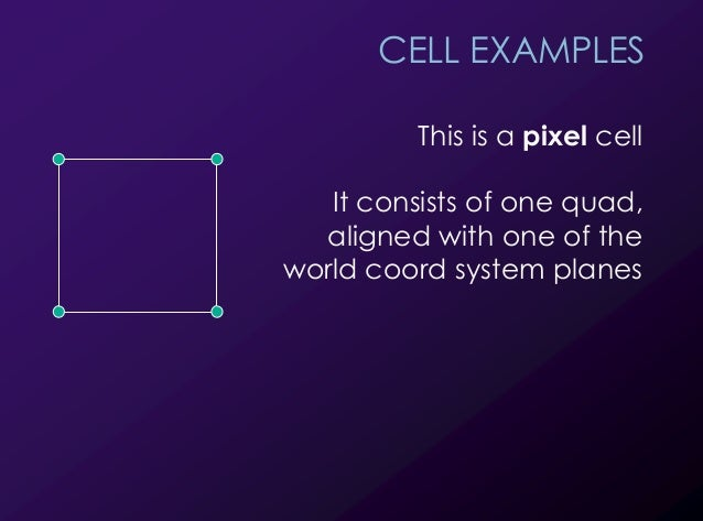 10 CELL EXAMPLES This is a pixel cell It consists of one quad, aligned with one of the world coord system planes