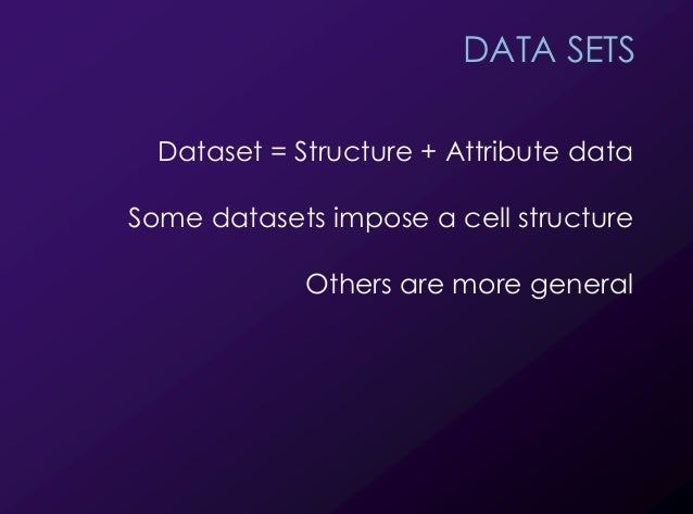 12 DATA SETS Dataset = Structure + Attribute data Some datasets impose a cell structure Others are more general