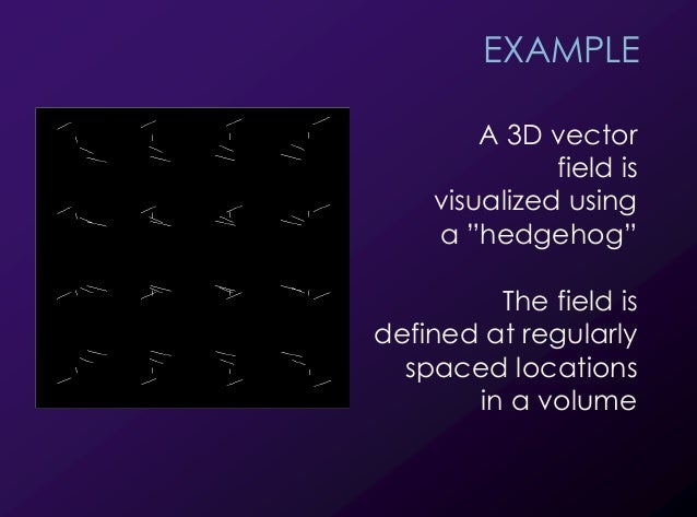 """20 EXAMPLE A 3D vector field is visualized using a """"hedgehog"""" The field is defined at regularly spaced locations in a volu..."""