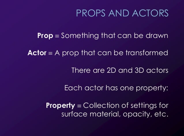 23 PROPS AND ACTORS Prop ! Something that can be drawn Actor ! A prop that can be transformed There are 2D and 3D actors E...