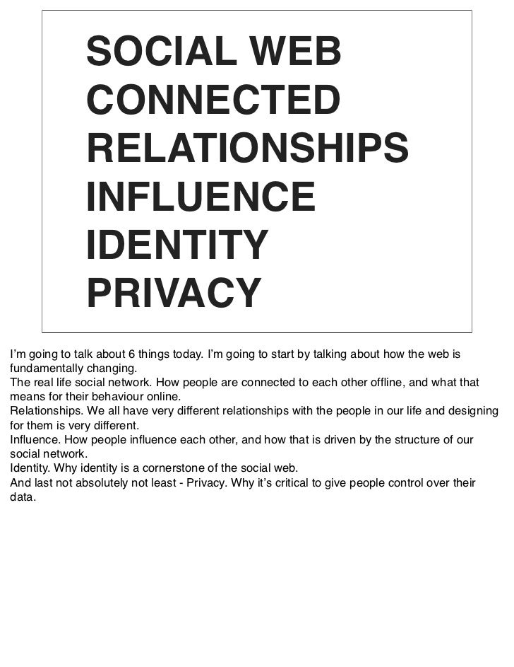 SOCIAL WEB                CONNECTED                RELATIONSHIPS                INFLUENCE                IDENTITY         ...