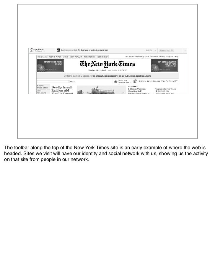 The toolbar along the top of the New York Times site is an early example of where the web is headed. Sites we visit will h...