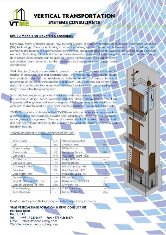 BIM Modeling VTME Elevator Consultants