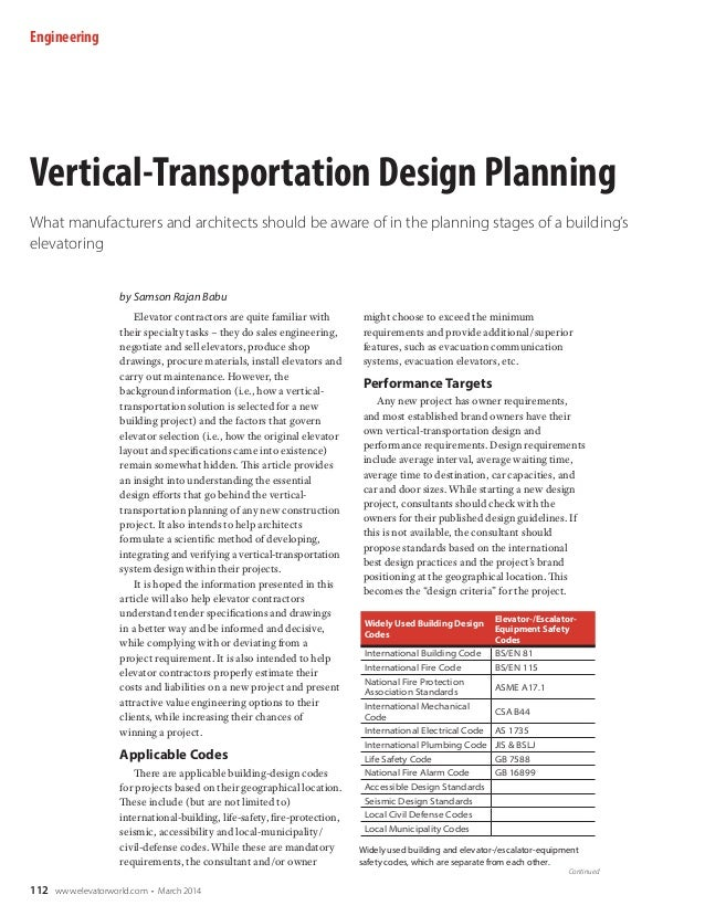 Engineering  Vertical-Transportation Design Planning What manufacturers and architects should be aware of in the planning ...