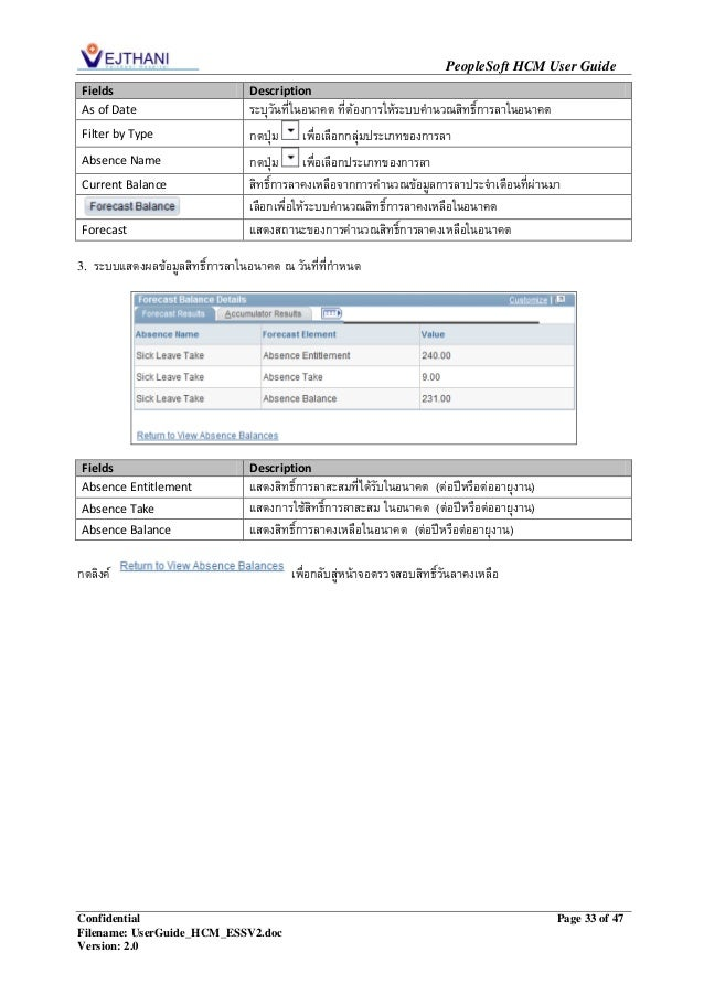 Vejthani HR : People Soft Employee Self Service User Guild